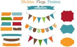 Grupo de stickies, de bandeiras e de fra brilhantes do sucata-registro