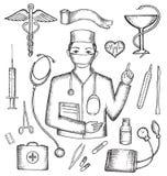 Grupo de subministros médicos Ilustração Royalty Free
