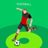 Grupo de Summer Games Icon do atleta do jogador de futebol atleta isométrico do jogador de futebol 3D Campeonato ostentando da co Imagem de Stock