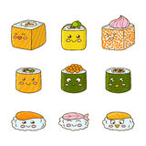 Grupo de sushi e de rolos engraçados ilustração royalty free