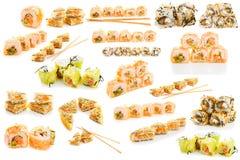 Grupo de sushi isolado Imagens de Stock Royalty Free