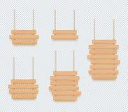 Grupo de suspensão vazio das bandeiras da placa 3d da planície de madeira do sinal ilustração do vetor