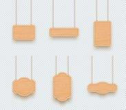 Grupo de suspensão vazio dos quadros da placa 3d da planície de madeira do sinal ilustração stock