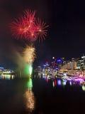 Grupo de Sydney Darling Harbour Fireworks imagens de stock royalty free