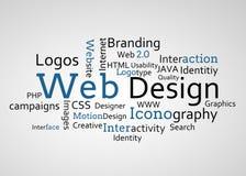 Grupo de términos azules del diseño web ilustración del vector
