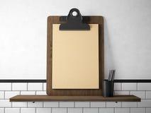 Grupo de tabuleta vazia do ofício na estante de madeira 3d rendem Imagem de Stock Royalty Free