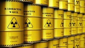 Grupo de tambores amarillos apilados con los desechos radioactivos libre illustration