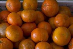 Grupo de tangerinas em um escaninho imagens de stock royalty free
