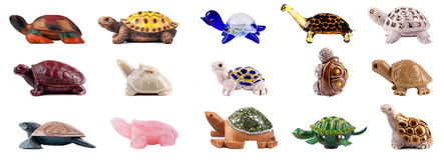 Grupo de tartarugas decorativas Foto de Stock