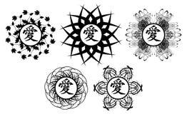 Grupo de tatuagem preta com amor do ideograma isolada ilustração royalty free