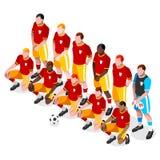 Grupo de Team Players Athlete Sports Icon do futebol fósforo de futebol 3D isométrico Team Players Campeonato ostentando da compe Foto de Stock Royalty Free
