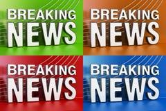 Grupo de telas das notícias de última hora com fundo colorido, renderi 3D Imagens de Stock Royalty Free