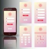 Grupo de telefone celular agradável de quadros da segurança ilustração stock