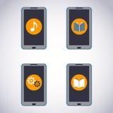 Grupo de telefone celular. Telefone esperto do écran sensível com aplicação dos meios (apps, música, ebooks). Imagem de Stock