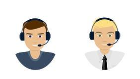Grupo de telemarketer dos homens, operador de centro de atendimento, linha direta, em linha Foto de Stock