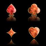 Grupo de ternos dourados do cartão com cristais Ilustração do Vetor