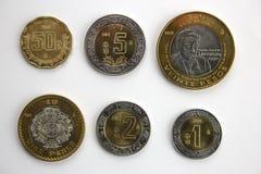 Grupo de moedas mexicanas. Foto de Stock Royalty Free