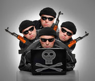 Grupo de terroristas fotografía de archivo