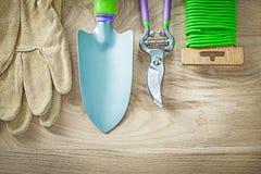 Grupo de tesoura de poda de jardinagem do fio do laço do jardim da pá da mão das luvas imagem de stock royalty free