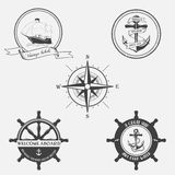 Grupo de teste padrão do vintage no tema náutico Ícones, etiquetas e elementos do projeto Imagens de Stock Royalty Free