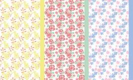 Grupo de teste padrão floral da garatuja ilustração royalty free