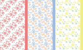 Grupo de teste padrão floral da garatuja ilustração stock