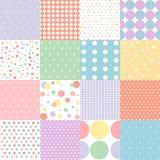 Grupo de teste padrão de pontos sem emenda nas cores pastel ilustração stock