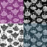 Grupo de teste padrão sem emenda com os potenciômetros retros do chá da porcelana do projeto Imagens de Stock Royalty Free