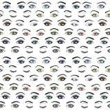 Grupo de teste padrão sem emenda fêmea do vetor dos olhos e das testas ilustração stock
