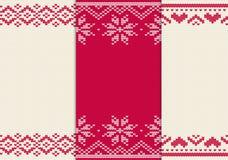 Grupo de teste padrão sem emenda feito malha para a camiseta Vetor do fundo do inverno Fotografia de Stock Royalty Free