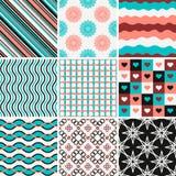 Grupo de testes padrões abstratos em branco, azul, preto Imagens de Stock Royalty Free