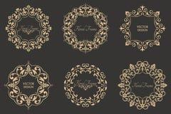 Grupo de testes padrões barrocos circulares Imagens de Stock