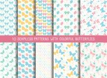 Grupo de testes padrões de borboleta bonitos sem emenda Fotografia de Stock Royalty Free