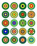 Grupo de testes padrões circulares coloridos Vetor Fotografia de Stock Royalty Free