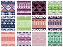 Grupo de testes padrões coloridos geométricos do vetor sem emenda com elementos decorativos, fundo infinito com motivos étnicos G ilustração stock