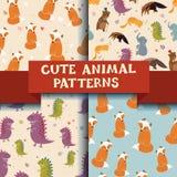 Grupo de 4 testes padrões com animais bonitos Dinossauro, raposa, gato Imagens de Stock Royalty Free