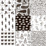 Grupo de 8 testes padrões criançolas do estilo escandinavo criativo Todas as amostras estão no painel das amostras de folha O vet Fotografia de Stock