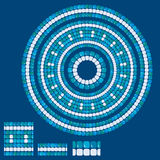 Grupo de testes padrões de mosaico - quadros redondos cerâmicos azuis - geo clássico ilustração do vetor