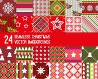 Grupo de 24 testes padrões do vetor do Natal ilustração stock