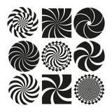 Grupo de testes padrões espirais em preto e branco Imagens de Stock