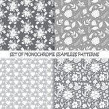 Grupo de testes padrões florais do vetor monocromático sem emenda Fotografia de Stock Royalty Free