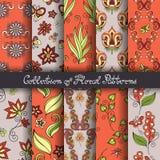 Grupo de 10 testes padrões florais sem emenda Fotografia de Stock Royalty Free