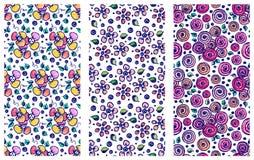 Grupo de testes padrões florais tirados do vetor mão sem emenda Fundos com flores, folhas A lápis gráfico bonito decorativo illus Imagens de Stock Royalty Free