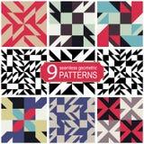 Grupo de testes padrões geométricos abstratos sem emenda do vetor na paleta de cores retro Fotografia de Stock