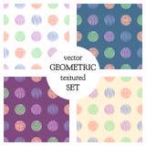 Grupo de testes padrões geométricos do vetor sem emenda com círculos o fundo infinito pastel com a mão tirada textured figuras ge ilustração royalty free