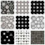 Grupo de testes padrões geométricos do vetor sem emenda com figuras geométricas diferentes, formulários, cinza, branco preto Fund ilustração do vetor