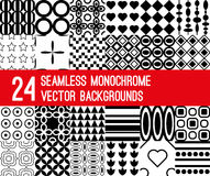 Grupo de 24 testes padrões monocromáticos do vetor Fotografia de Stock