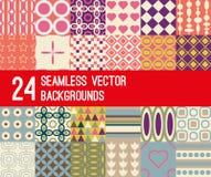 Grupo de 24 testes padrões retros do vetor Imagens de Stock