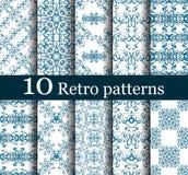 Grupo de 10 testes padrões retros sem emenda Imagem de Stock Royalty Free