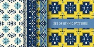 Grupo de testes padrões sem emenda étnicos Asteca, indiano o do nativo americano ilustração do vetor